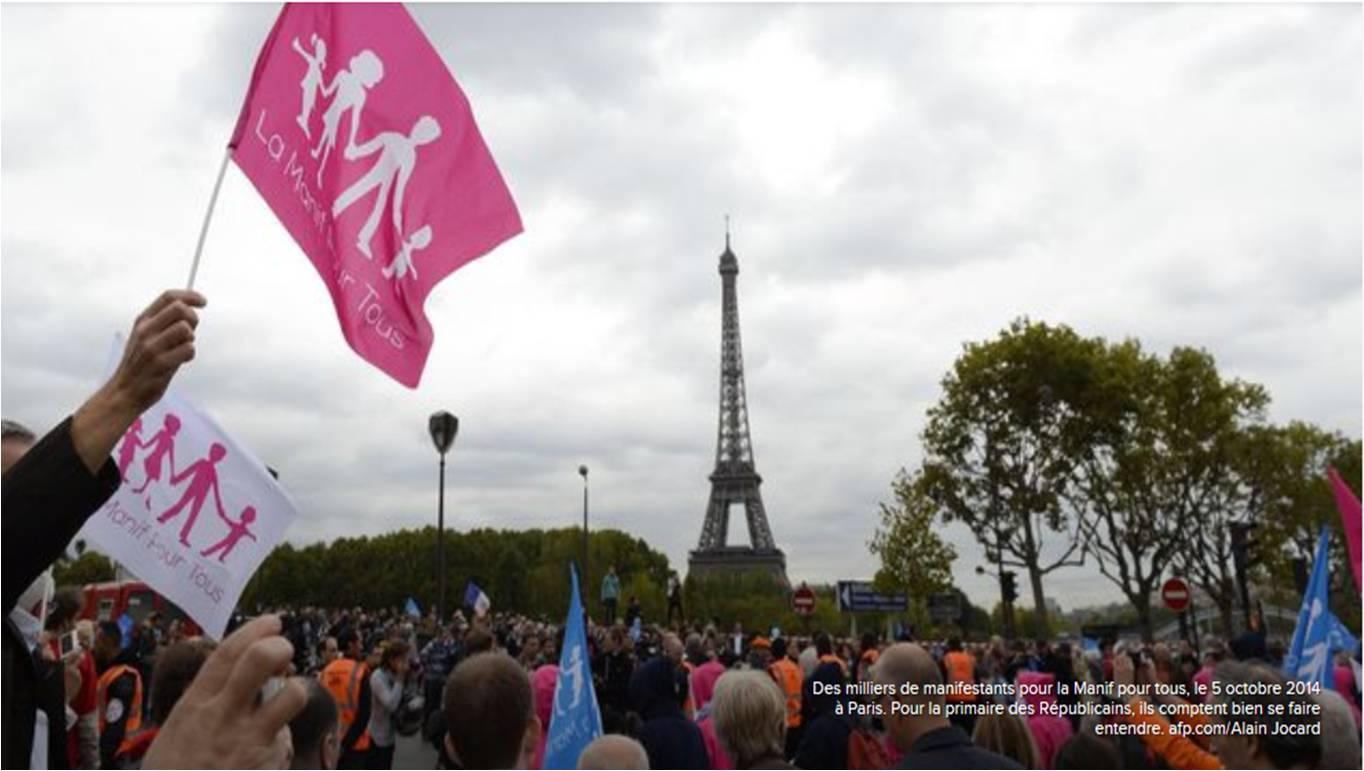 """Image - Lu dans l'Express : """"Contre Sarkozy, les anti-mariage pour tous reprennent leur bâton de pèlerin"""""""