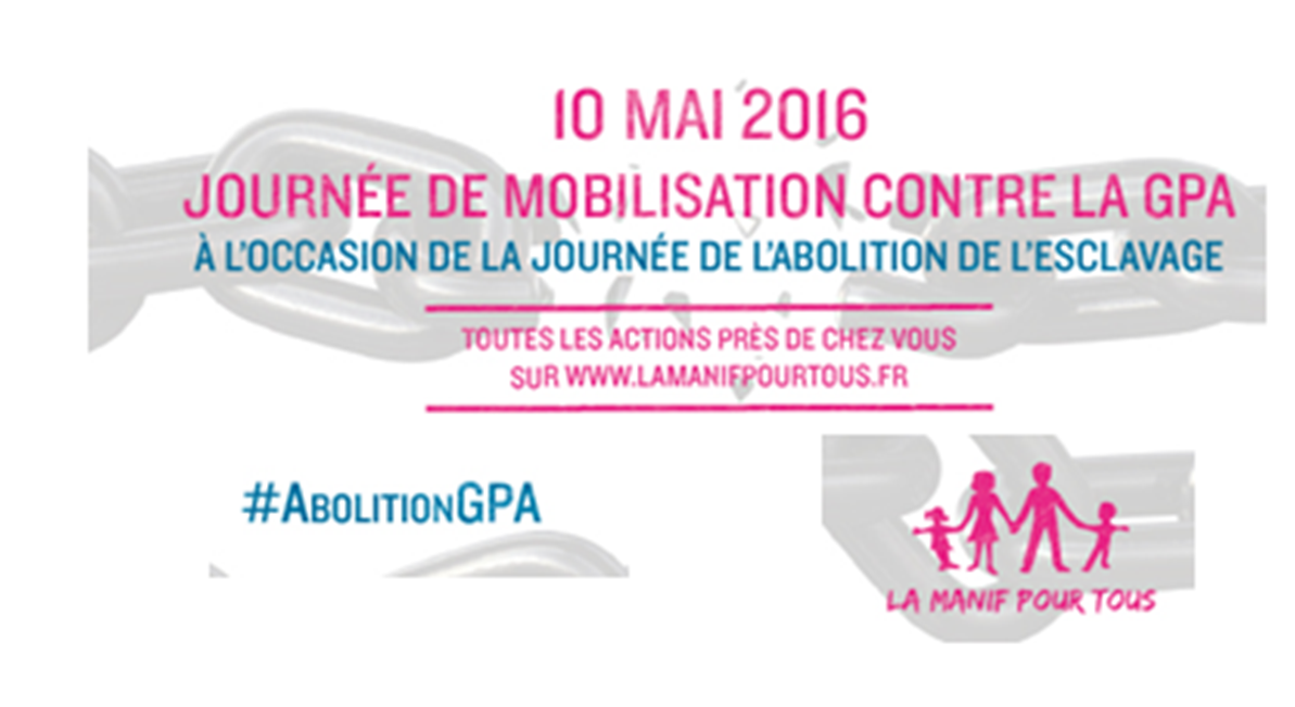 Image - 10 mai : Journée de mobilisation contre la GPA à l'occasion de la journée de l'abolition de l'esclavage dans toute la France