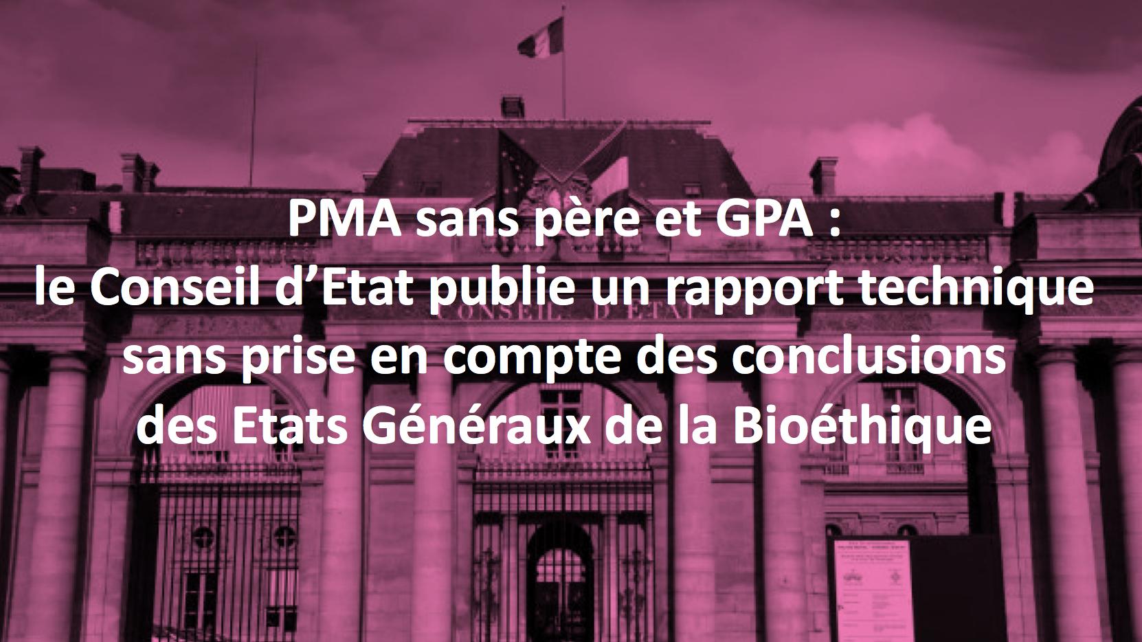 """Image - Communiqué de presse : """"PMA sans père et GPA: le Conseil d'Etat publie un rapport technique  sans prise en compte des conclusions des Etats Généraux de la Bioéthique"""""""