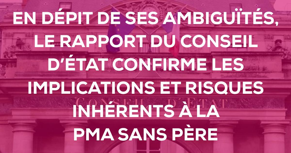 Image - Communiqué de presse – En dépit de ses ambiguïtés, le rapport du Conseil d'État confirme les implications et risques inhérents à la PMA sans père