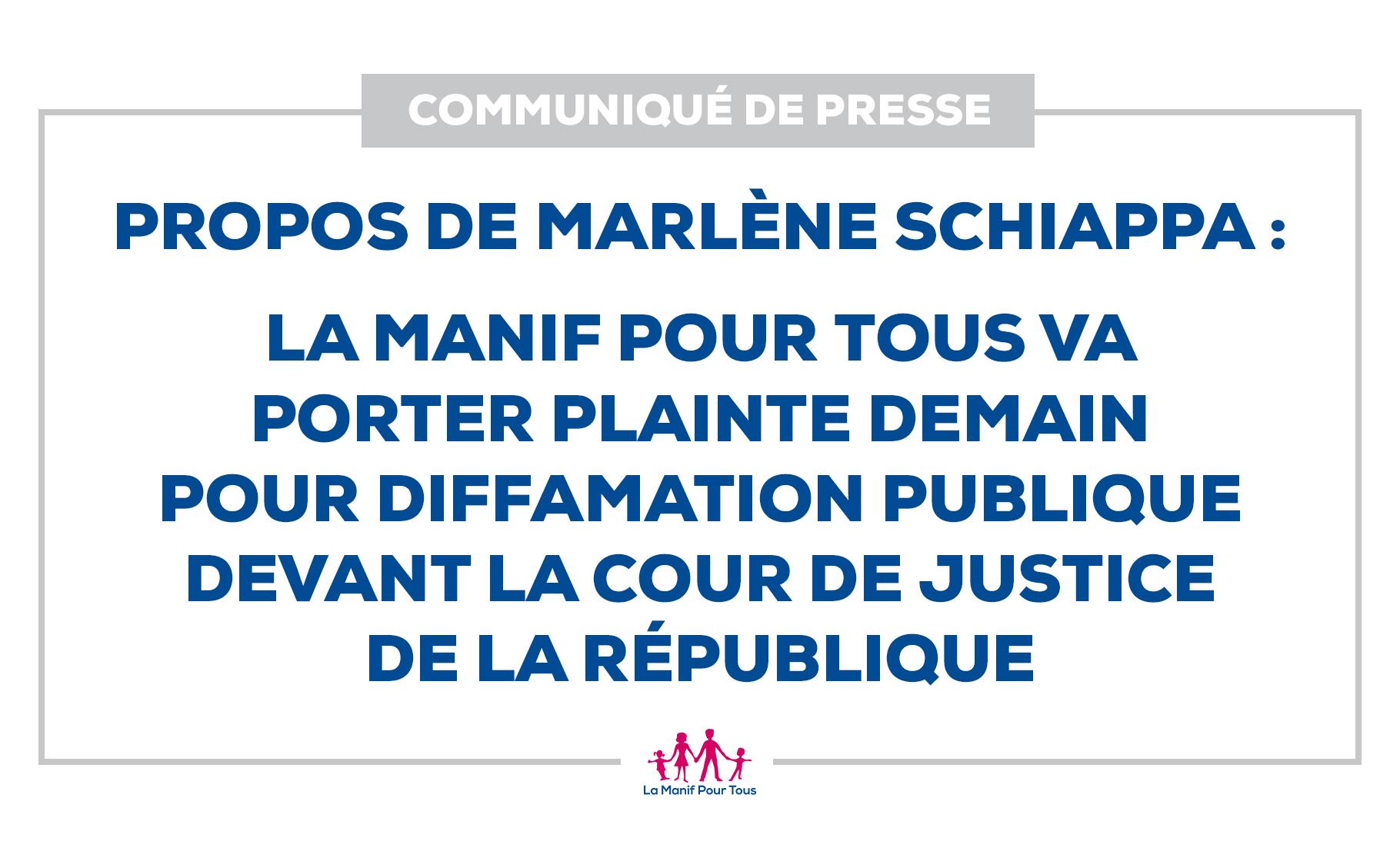 Image - Communiqué – Propos de Marlène Schiappa : La Manif Pour Tous va porter plainte demain pour diffamation publique devant la Cour de Justice de la République