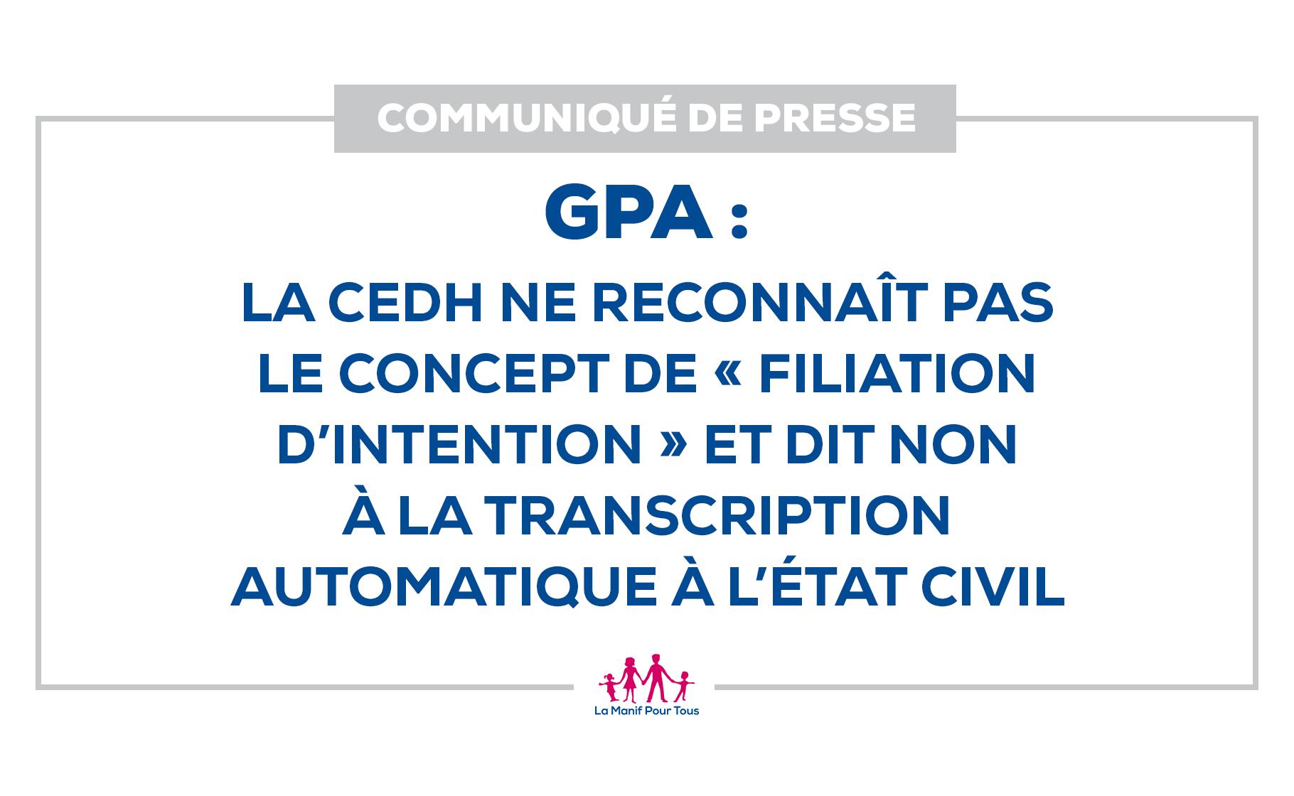 """Image - Communiqué – GPA : la CEDH ne reconnaît pas le concept de """"filiation d'intention"""" et dit non à la transcription automatique à l'état civil"""