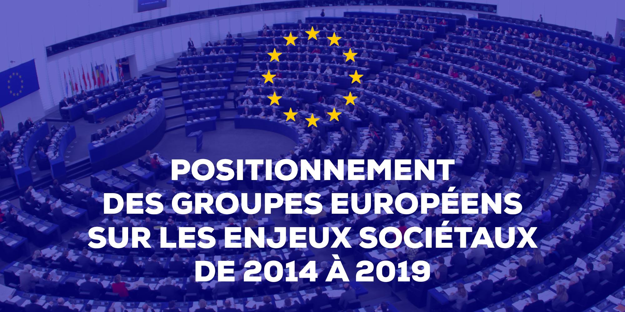 Image - Positionnement des groupes européens sur les enjeux sociétaux de 2014 à 2019