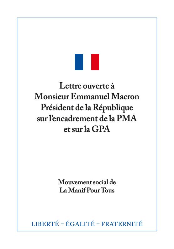 Couverture - Lettre ouverte à Monsieur Emmanuel Macron Président de la République sur l'encadrement de la PMA et sur la GPA