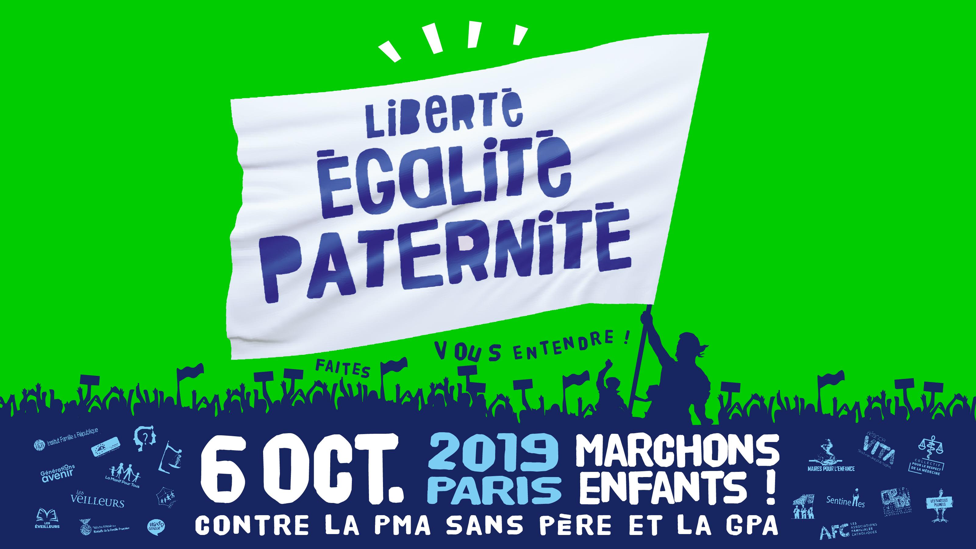 Image - CP – Manifestation unitaire «Marchons Enfants!»  du dimanche 6 octobre: départ à 13h de la place Edmond Rostand (Sénat)