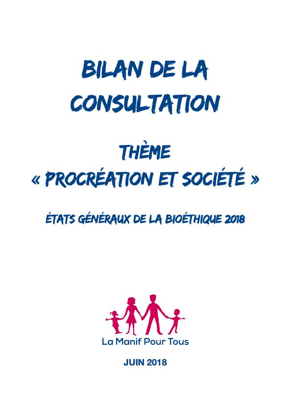 """Couverture - Etats généraux de la bioéthique – Bilan de la consultation – Thème """"Procréation et société"""""""