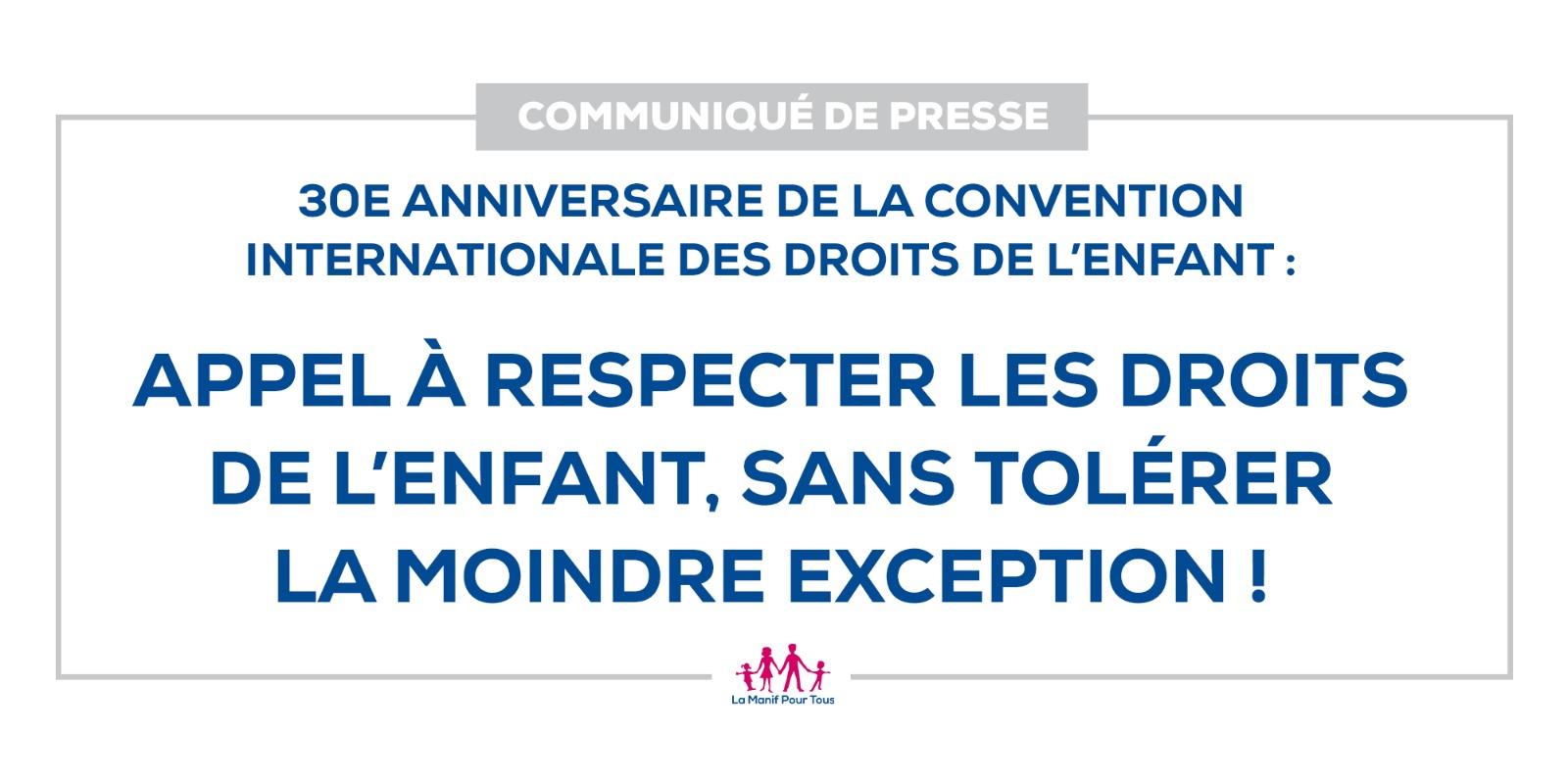 Image - CP – 30e anniversaire de la Convention internationale des droits de l'enfant : Appel à respecter les droits de l'enfant,  sans tolérer la moindre exception !