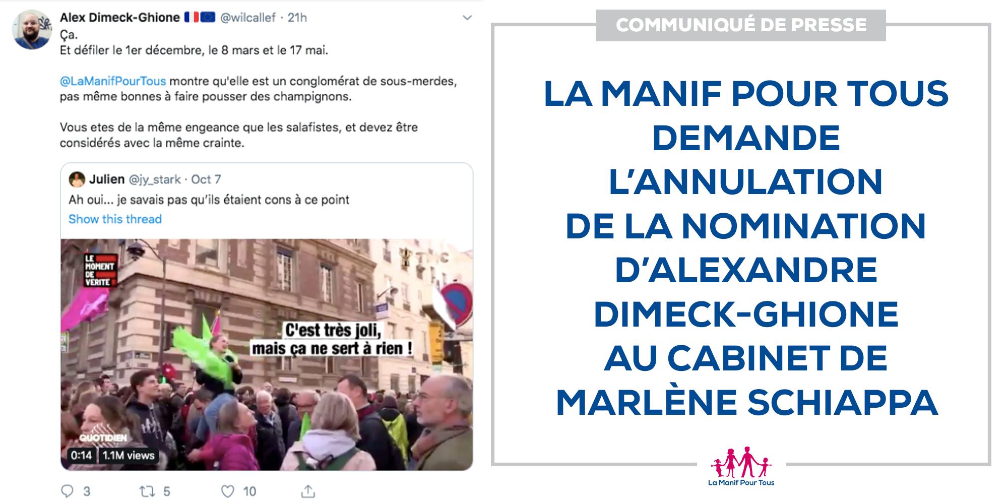 Image - Communiqué – La Manif Pour Tous demande l'annulation de la nomination d'Alexandre Dimeck-Ghione au cabinet de Marlène Schiappa