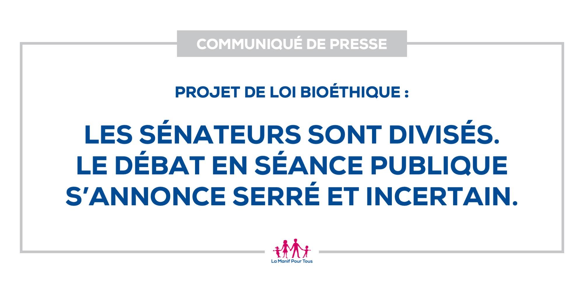 Image - Communiqué – Projet de loi bioéthique : les sénateurs sont divisés. Le débat en séance publique s'annonce serré et incertain.