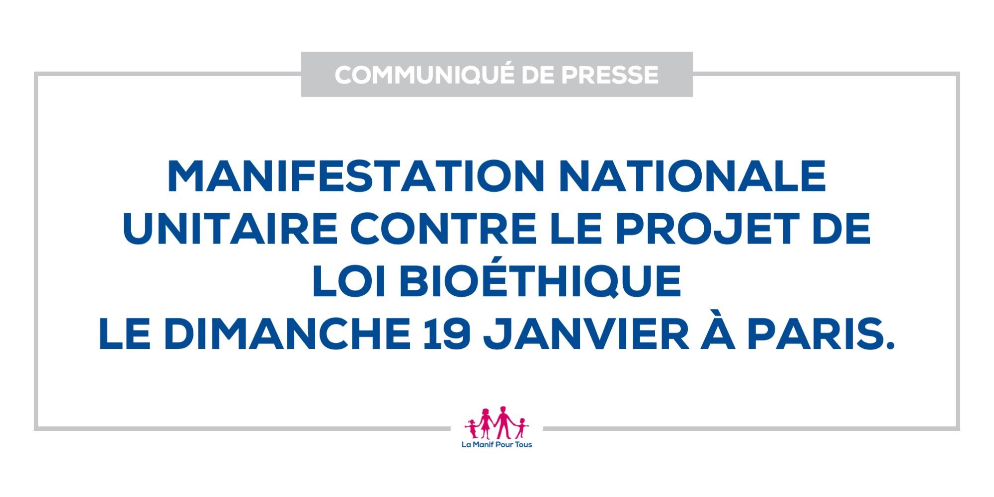 Image - Communiqué – Manifestation nationale unitaire contre le projet de loi bioéthique le dimanche 19 janvier à Paris.