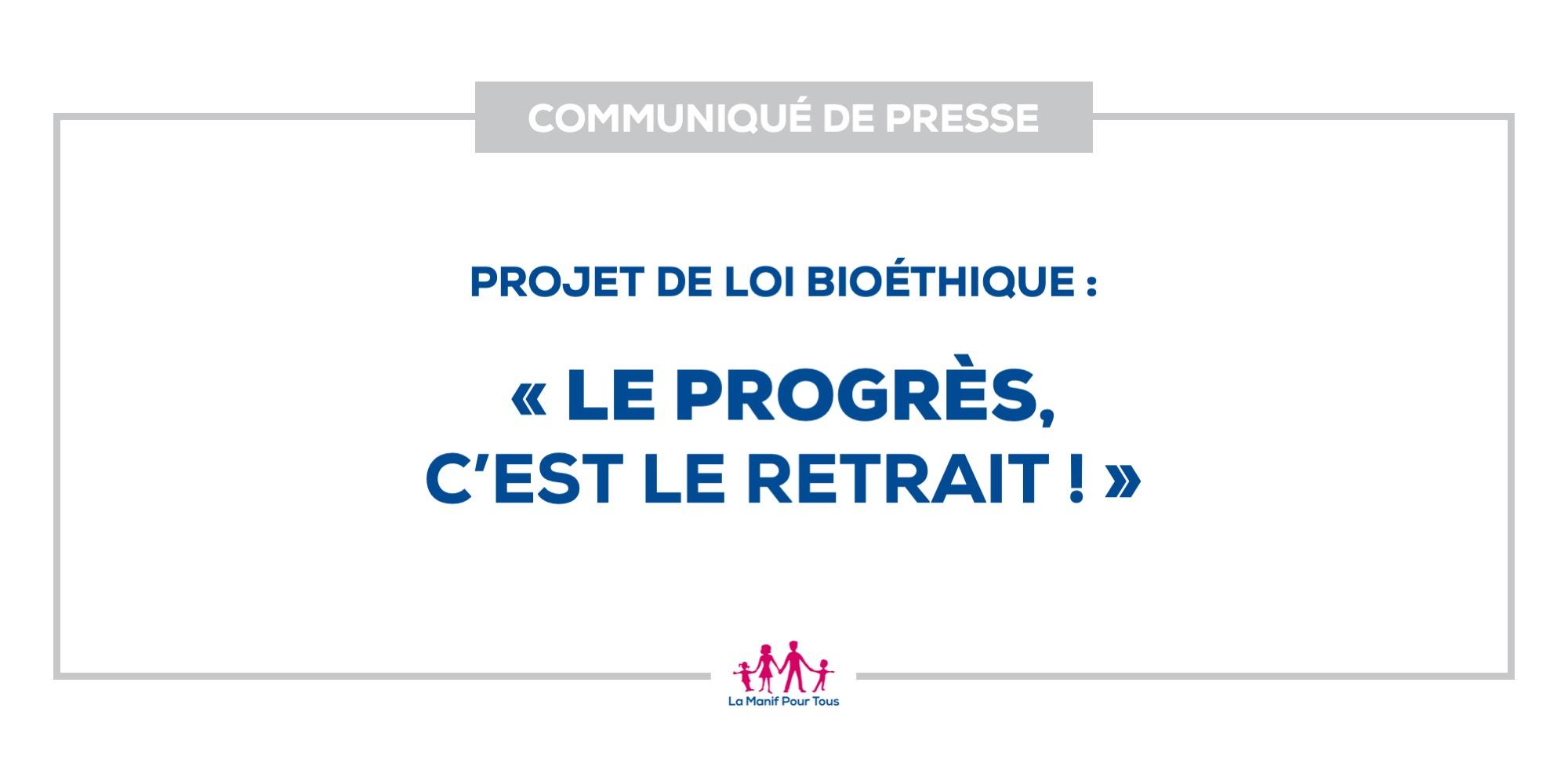 Image - Communiqué de presse – Projet de loi bioéthique : « le progrès, c'est le retrait ! »