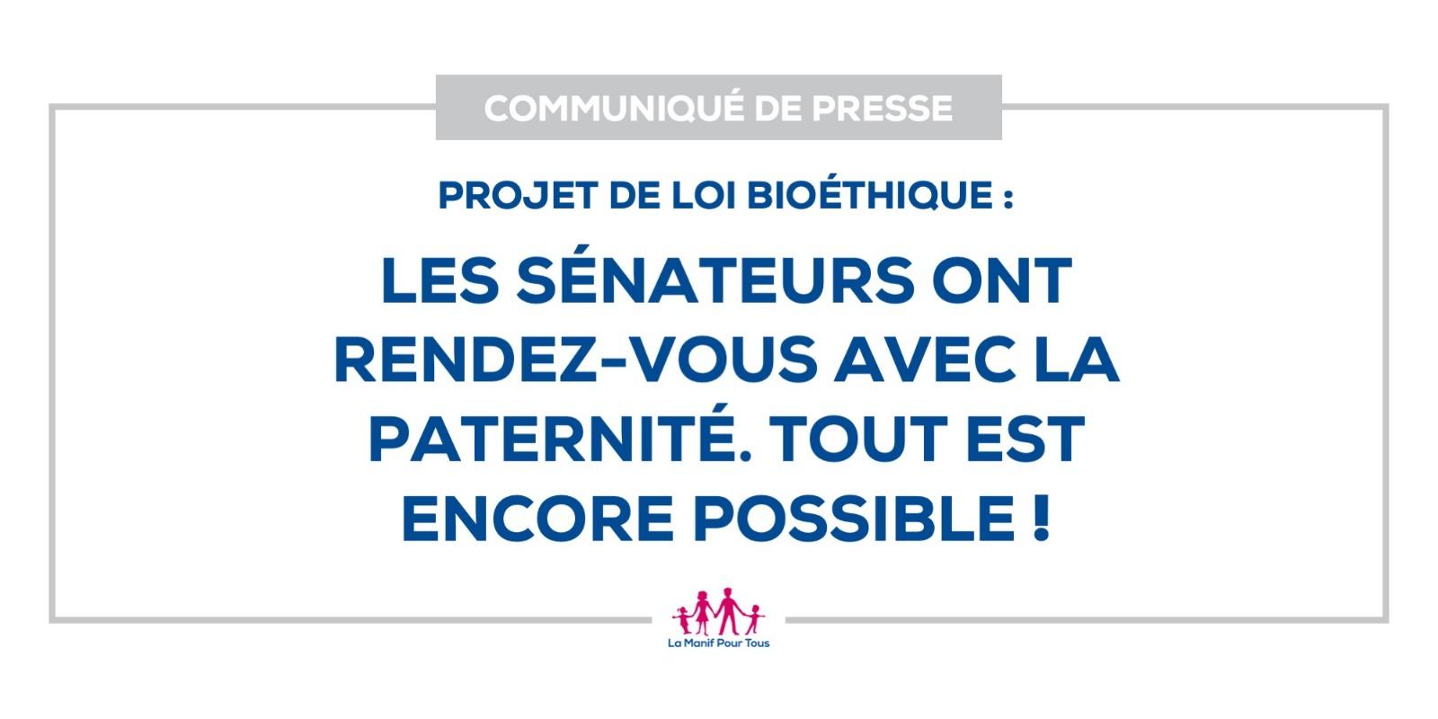 Image - Communiqué – Projet de loi bioéthique : les sénateurs ont rendez-vous avec la paternité. Tout est encore possible !