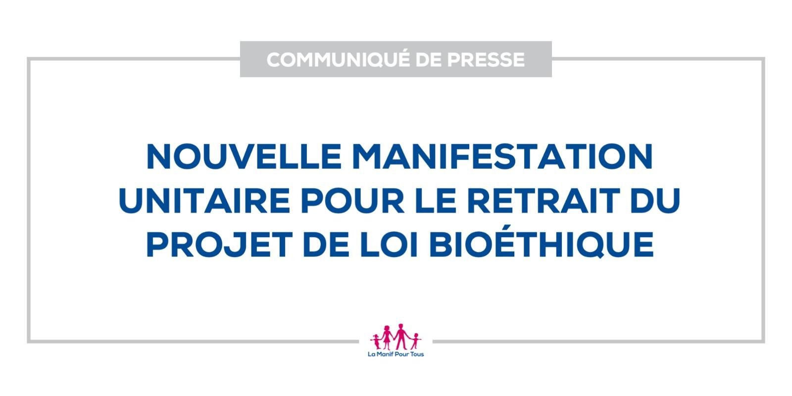 Image - CP – Nouvelle manifestation unitaire  pour le retrait du projet de loi bioéthique
