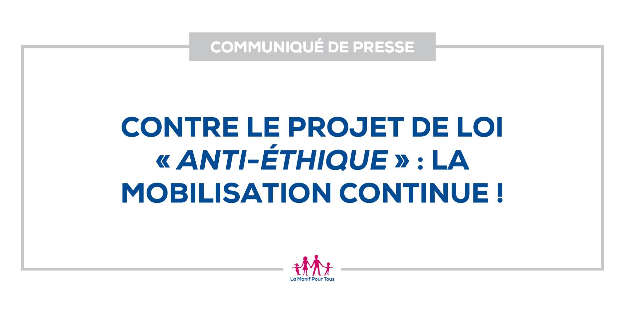 Image - Contre le projet de loi «anti-éthique»: la mobilisation continue!
