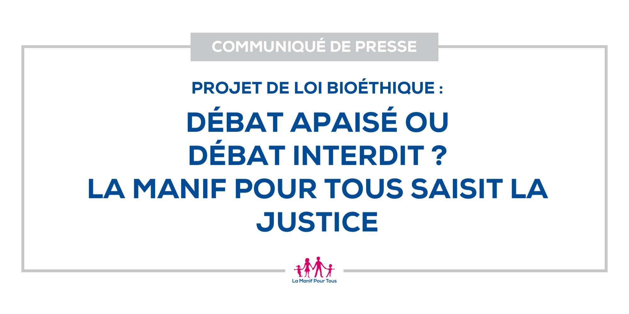 Image - Projet de loi bioéthique: débat apaisé ou débat interdit? La Manif Pour Tous saisit la justice