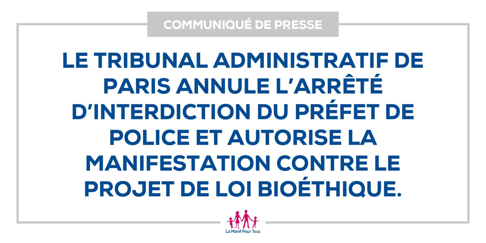 Image - Le tribunal administratif de Paris annule l'arrêté d'interdiction du Préfet de Police et autorise la manifestation « Marchons Enfants ! » contre le projet de loi bioéthique.