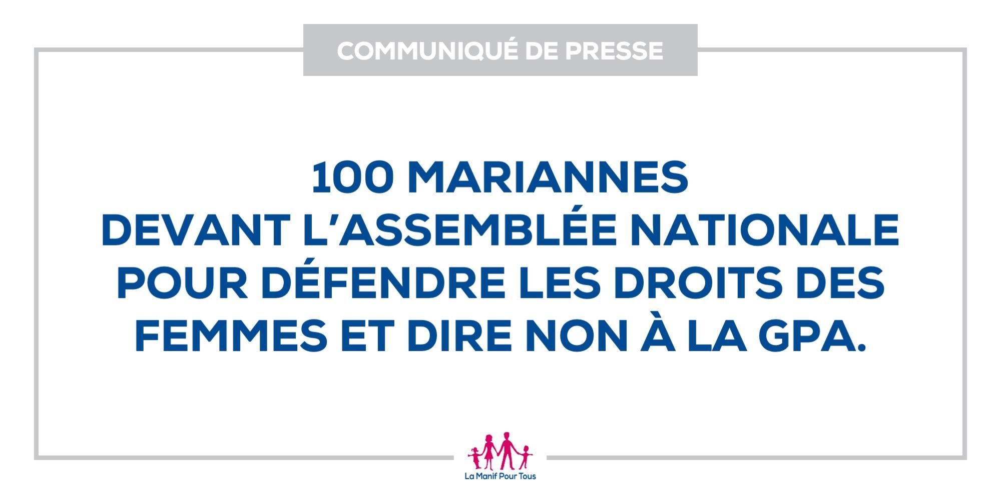 Image - 100 Mariannes devant l'Assemblée nationale pour défendre les droits des femmes et dire non à la GPA.