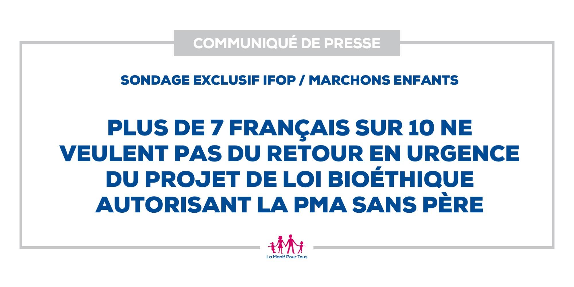 Image - Sondage exclusif IFOP / Marchons Enfants : Plus de 7 Français sur 10 ne veulent pas du retour en urgence du projet de loi bioéthique autorisant la PMA sans père