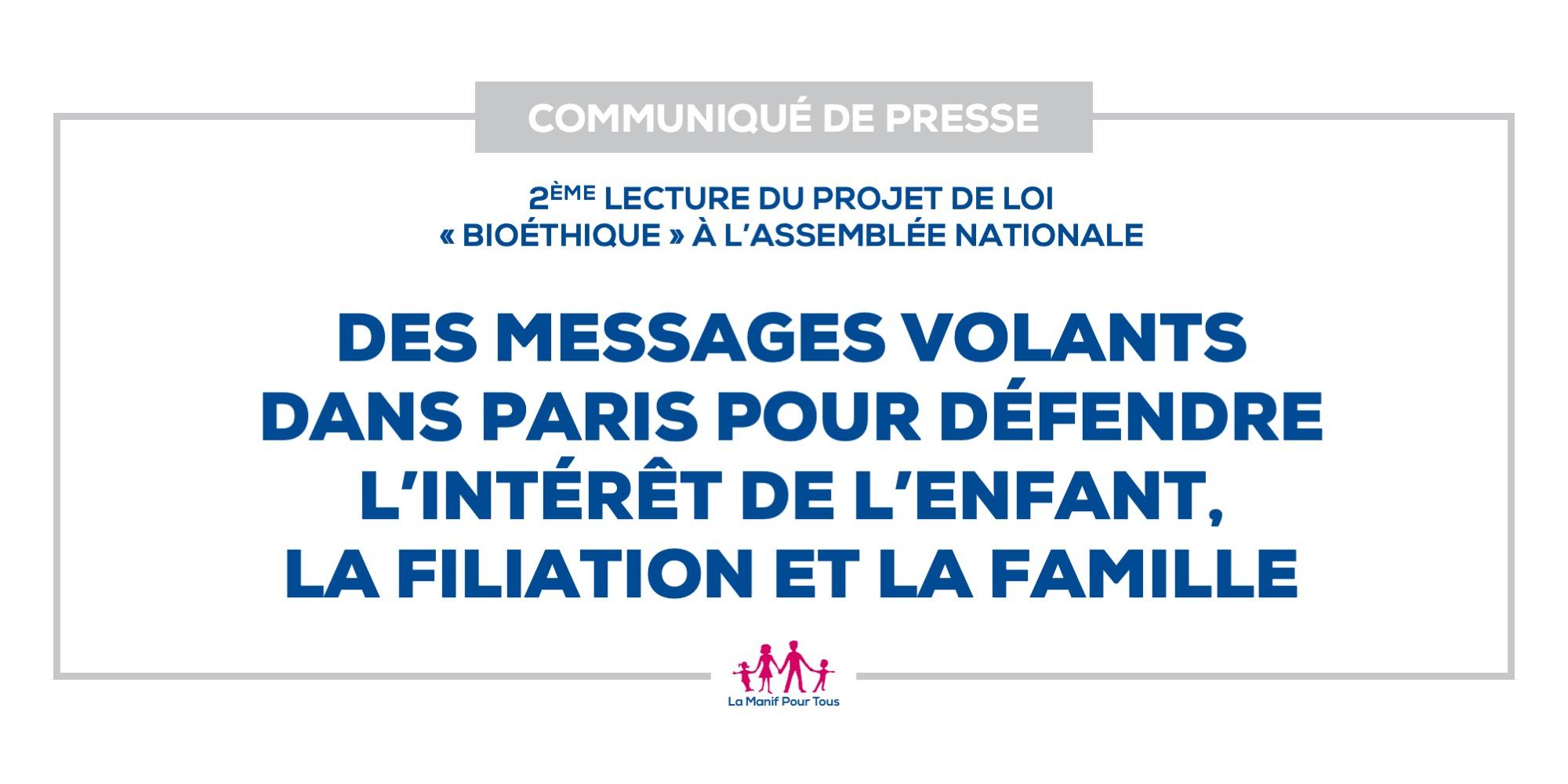 Image - Des messages volants dans Paris pour défendre l'intérêt de l'enfant, la filiation et la famille