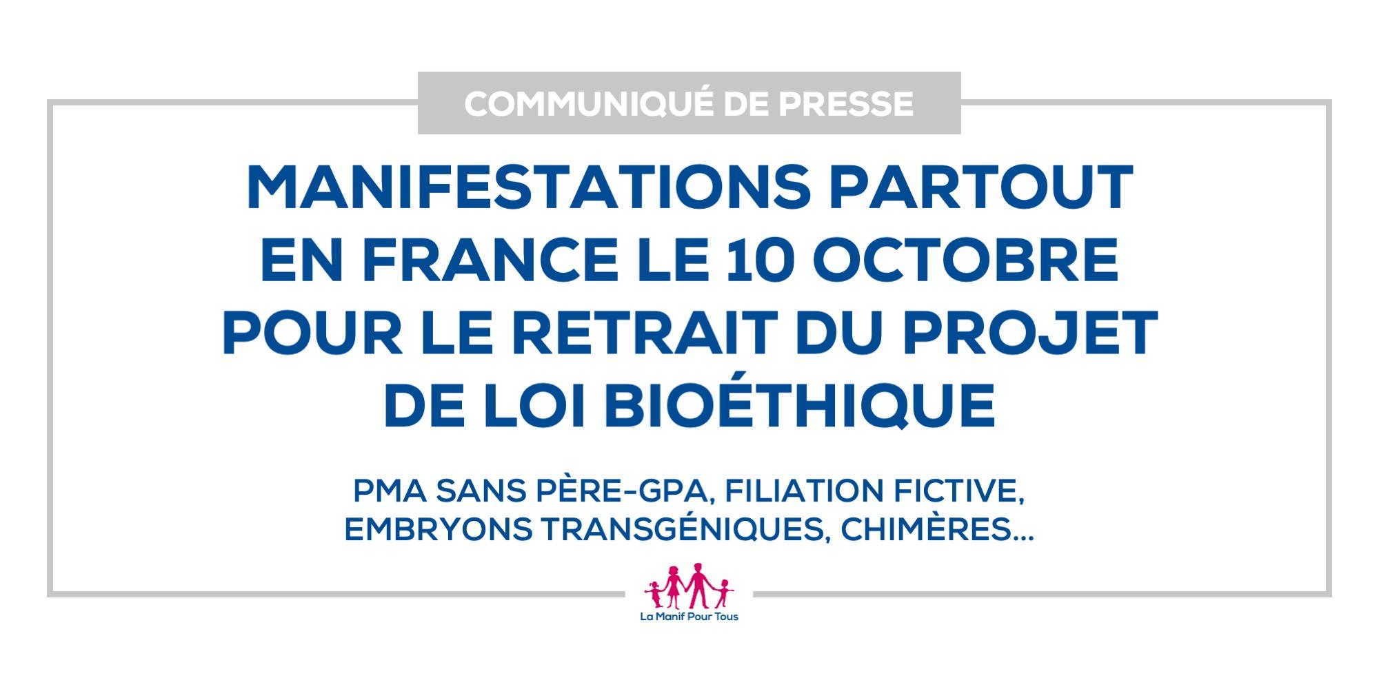 Image - Manifestations partout en France le 10 octobre  pour le retrait du projet de loi bioéthique